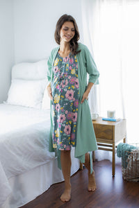 Sage Green Robe & 3 in 1 Charlotte Labor Gown