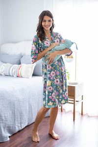 Charlotte Robe & Matching Solid Sage Swaddle Blanket Set