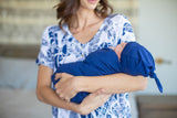 Serra Endless Mama Maternity/Nursing Lounge Dress & Navy Blue Swaddle Blanket Set