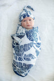Serra Navy Blue / White Swaddle Blanket Set