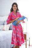 Rose Delivery Robe & Sky Blue Baby Boy Swaddle Blanket Set
