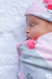 Sophie Floral Swaddle Blanket & Matching Newborn Hat Set