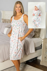 Ivy Maternity Nursing Nightgown & Baby Girl Coming Home Set