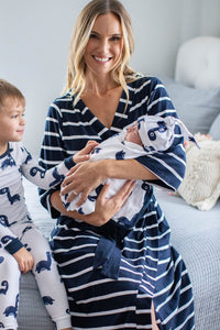 Navy Stripe Robe & Dinosaur Baby Boy Swaddle Blanket Set