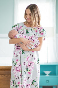 Olivia Maternity Delivery Hospital Gown Gownie and Baby Receiving Gown Set - Mommy And Me