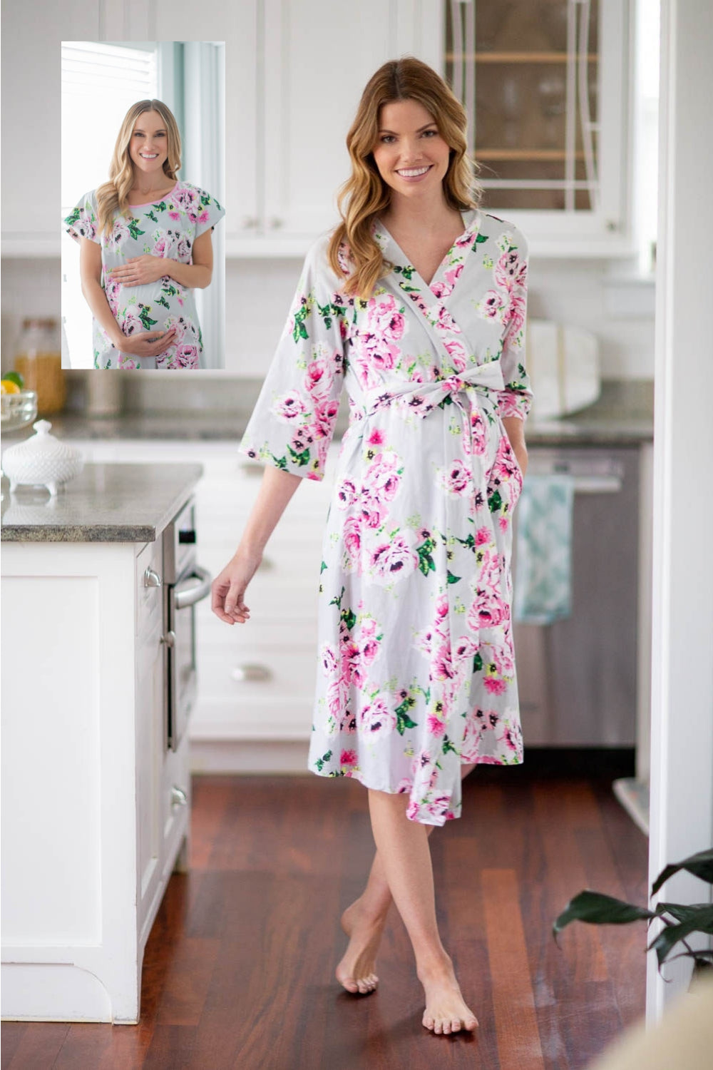 Olivia Floral Maternity Delivery Hospital Gown Gownie Delivery Robe Gownies