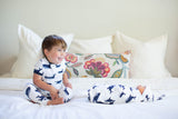 Navy Striped Robe, Whale Swaddle Blanket Set & Whale Boy Pajama Set