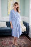 Zoe Striped Robe & Maternity Nursing Nightgown