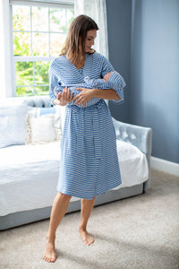 Blue Striped Robe & Matching Baby Gown/Hat Set