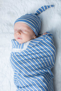 Zoe Stripe Swaddle Blanket & Newborn Hat Set