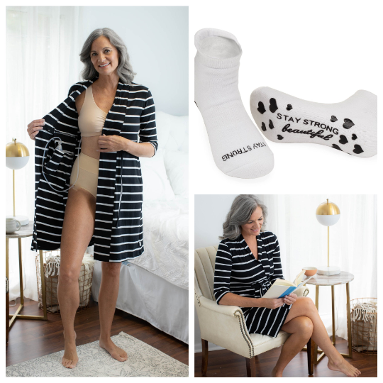 Black Stripe Post Surgery Recovery Robe & Motivational Socks