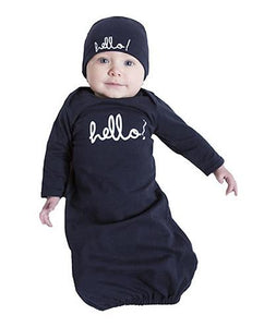 Navy Hello Baby Receiving Gown & Hat