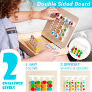 Play Brainy Four-Color & Shape Puzzle Game Montessori Toy – Fun & Educational 2-Sided Sliding Logic Puzzle for Shape & Color Sorting – Early Education STEM Toy for Toddlers – Wooden Slide Puzzle