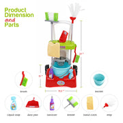 Play Brainy Kids Cleaning Cart Set Toy for Kids| Deluxe Cleaner Trolley Playset