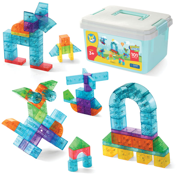 Play Brainy 101 Pieces Magnetic Cubes for Kids - 3D Building Blocks Set