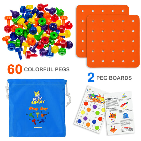 Play Brainy Peg Toy Set – Exciting Montessori Style Learning Toy – 2 Colorful Stacking Peg Board Toy 60 PCS
