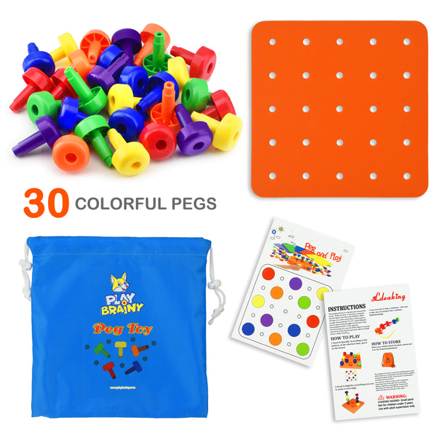 Play Brainy Peg Toy Set – Exciting Montessori Style Learning Toy – Colorful Stacking Peg Board Toy 30 PCS