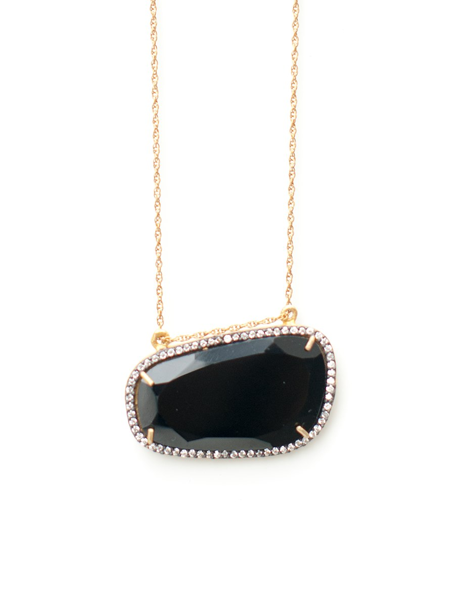 Avindy Black Onyx Slice Necklace | Vegan Scene