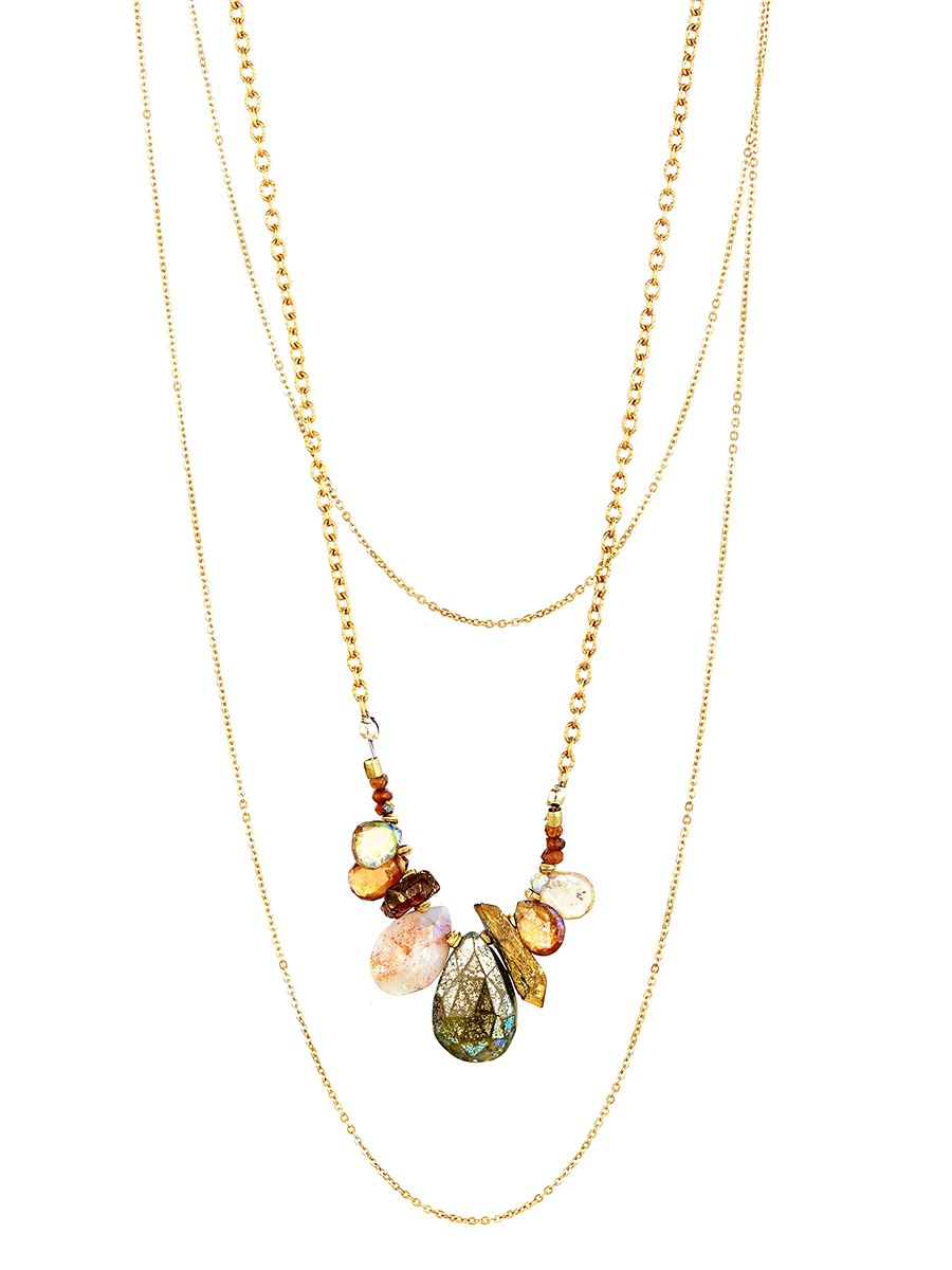 Avindy Cascading Chains With Fall Gems Necklace | Vegan Scene