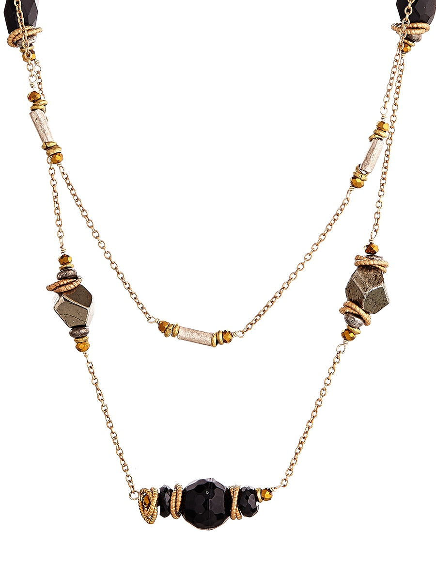 Avindy Pyrite and Onyx Scatter Necklace | Vegan Scene