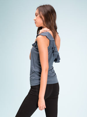 Legends & Vibes Dell One Shoulder Ruffle Top | Vegan Scene