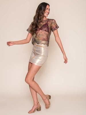 Legends & Vibes Cadiz Sheer Metallic Lace Top | Vegan Scene