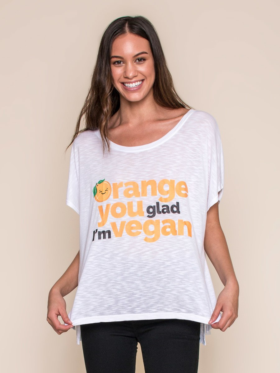 Vegan Scene Orange You Glad I'm Vegan Oversized Tee | Vegan Scene