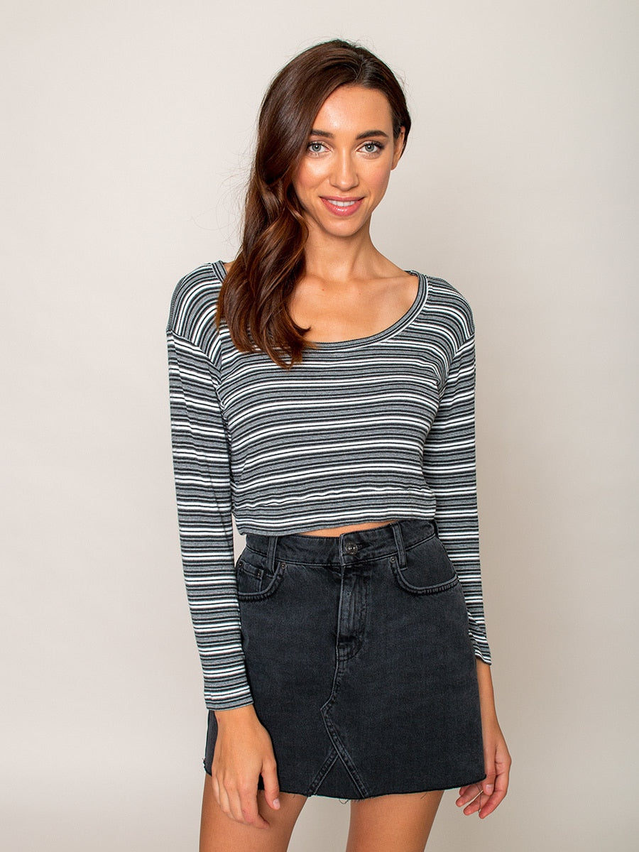 Legends & Vibes Olive Long-Sleeve Crop Top Grey Stripe | Vegan Scene