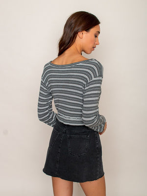 Legends & Vibes Olive Long-Sleeve Crop Top Stripe | Vegan Scene
