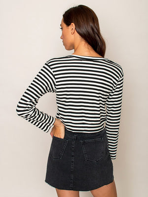 Legends & Vibes Olive Long-Sleeve Stripe Crop Top | Vegan Scene