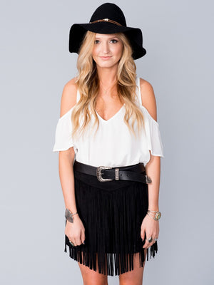 Show Me Your Mumu Rancho Fringe Skirt Black Faux Suede | Vegan Scene