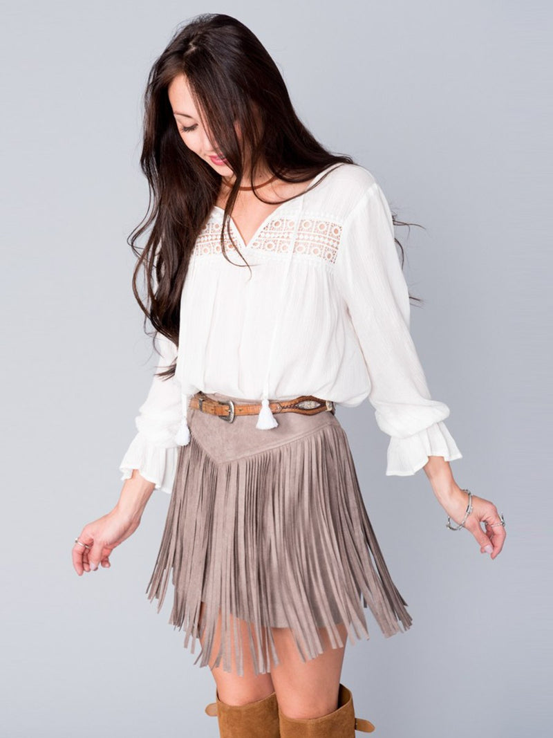 Show Me Your Mumu Rancho Fringe Skirt Taupe Faux Suede | Vegan Scene