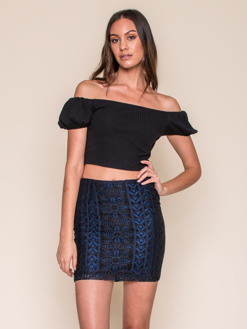 Legends & Vibes Wavecrest Lace Skirt Blue | Vegan Scene