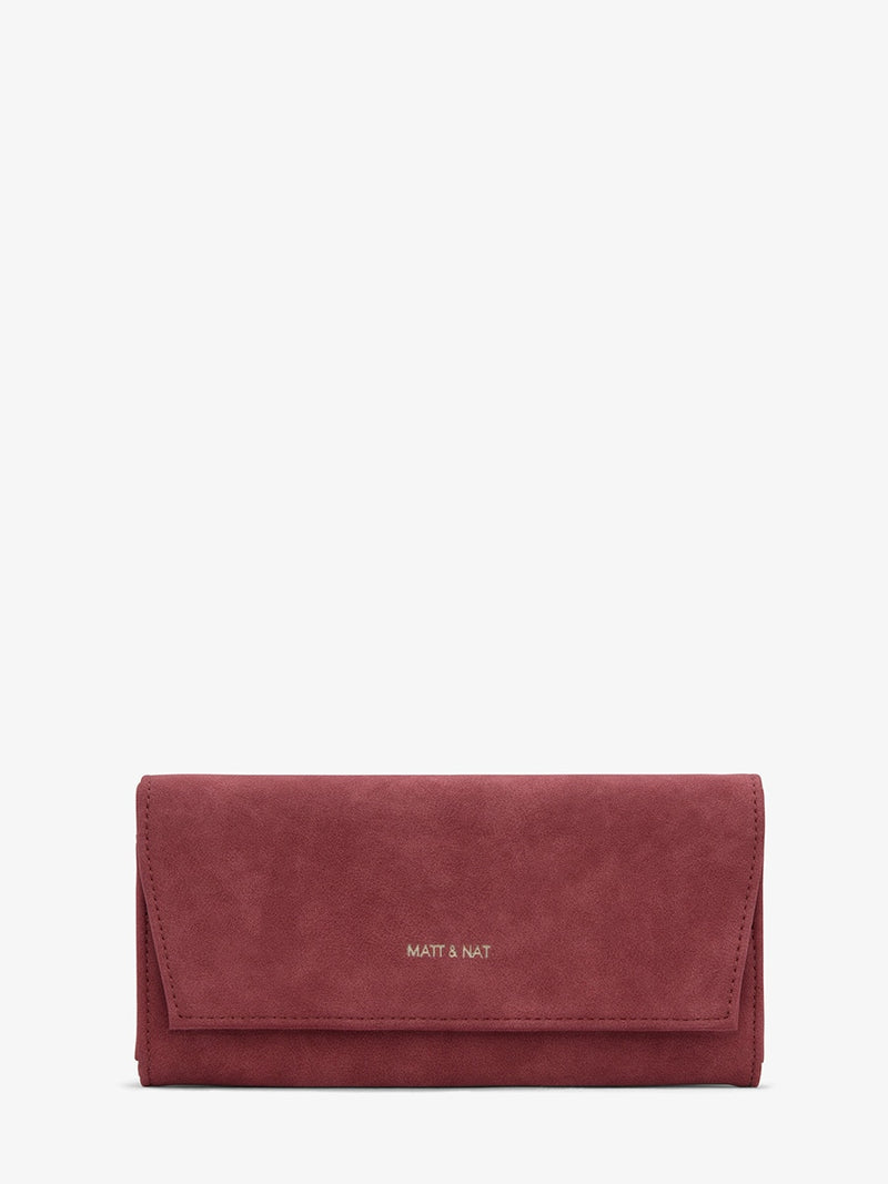Matt & Nat Vera Vegan Suede Wallet Red | Vegan Scene