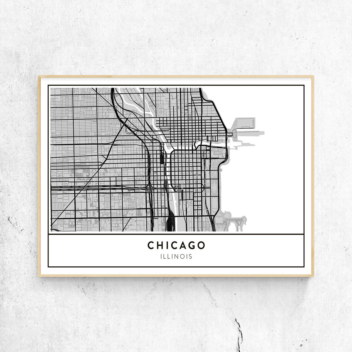 Chicago, Illinois - Custom Map Art Print (Landscape) on printable map of chicago attractions, map of north lake shore drive chicago, printable road map of illinois, printable map of downtown chicago magnificent mile, printable map of illinois highways, printable chicago skyline, printable downtown chicago city map, whites bridge chicago, printable map of navy pier chicago, printable map of southern illinois, printable map of northern illinois, map of bad dangerous neighborhoods in chicago, printable map of illinois cities, print map of chicago,