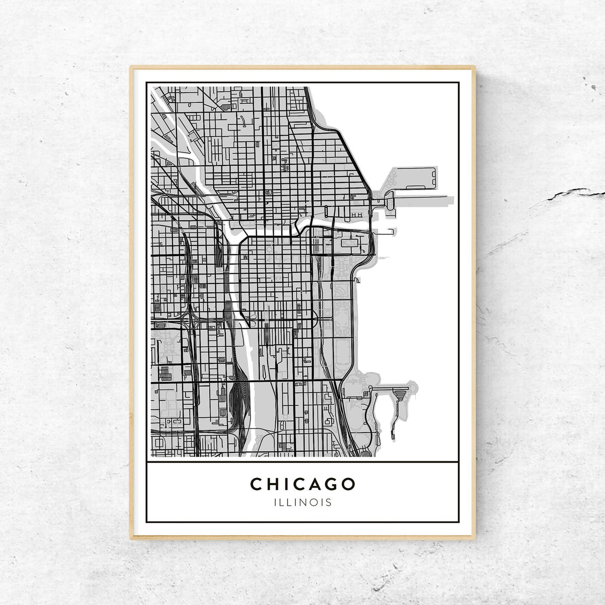 Chicago, Illinois - Custom Map Art Print (Portrait) on printable map of chicago attractions, map of north lake shore drive chicago, printable road map of illinois, printable map of downtown chicago magnificent mile, printable map of illinois highways, printable chicago skyline, printable downtown chicago city map, whites bridge chicago, printable map of navy pier chicago, printable map of southern illinois, printable map of northern illinois, map of bad dangerous neighborhoods in chicago, printable map of illinois cities, print map of chicago,