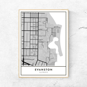 Northwestern University Evanston Campus Map.Golden Gate Design Co Custom Map Art Prints Of Your Favorite City