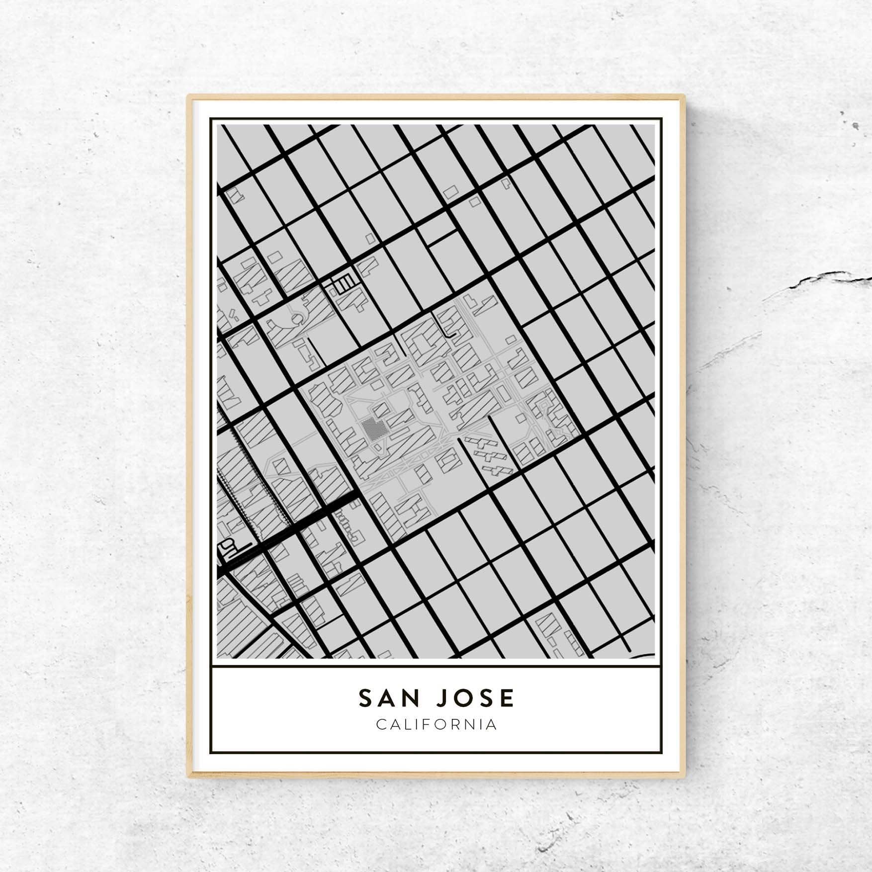 San Jose Campus Map.Golden Gate Design Co Custom Map Art Prints Of Your Favorite City