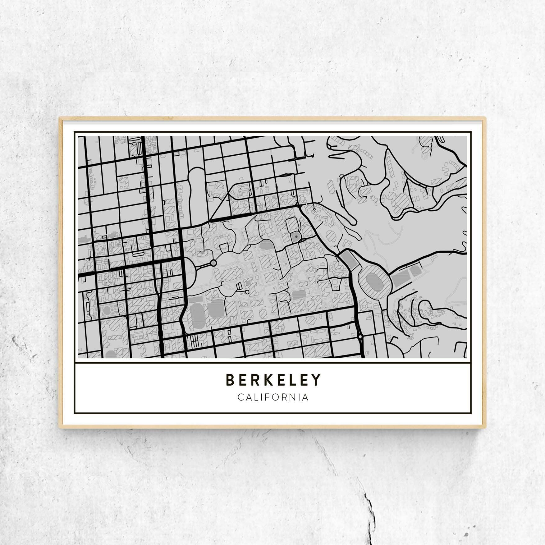 University Of California Berkeley Campus Map.Golden Gate Design Co Custom Map Art Prints Of Your Favorite City