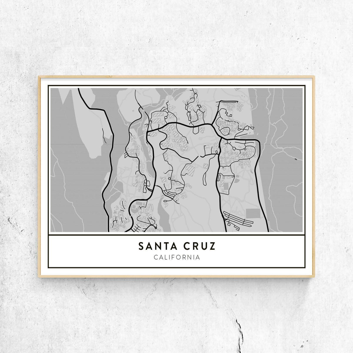 Santa Cruz California Map.University Of California Santa Cruz Campus Map Art Print Landscape