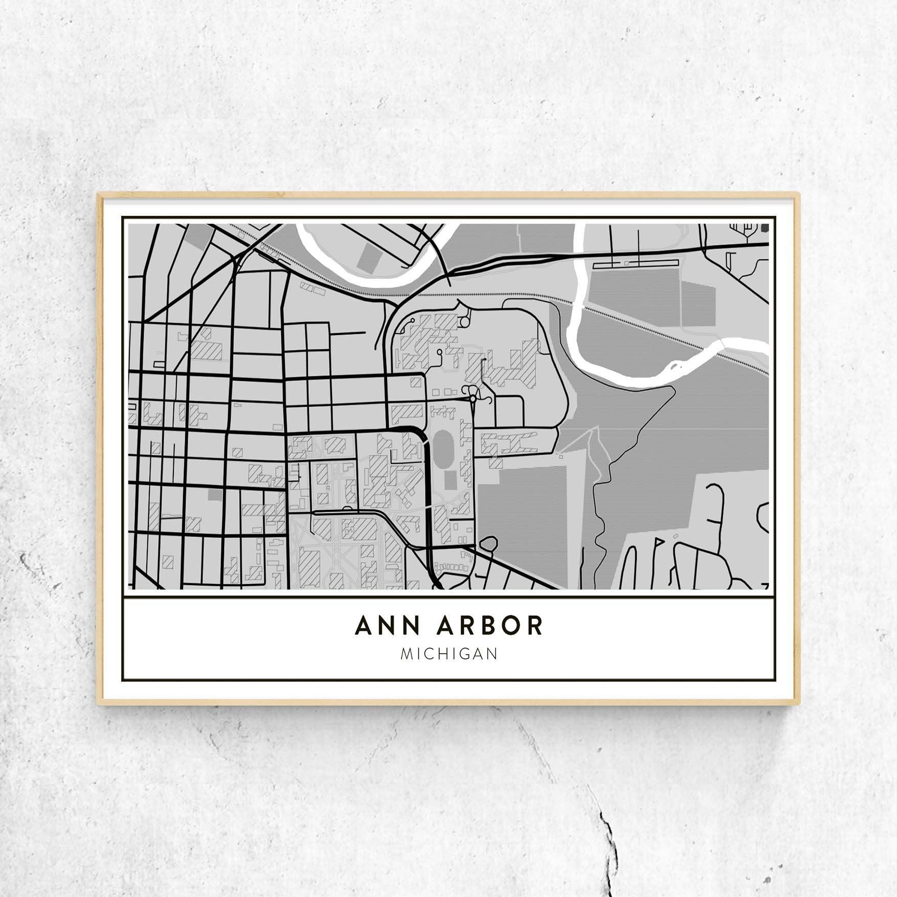 U Michigan Campus Map.Golden Gate Design Co Custom Map Art Prints Of Your Favorite City