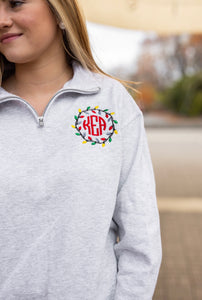 Christmas Lights Monogram Quarter Zip