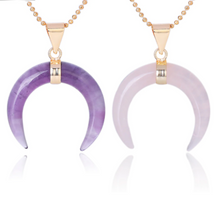 Load image into Gallery viewer, Natural Stones Moon Necklaces