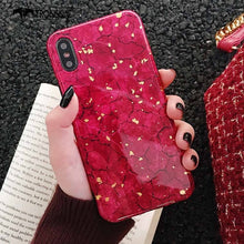 Load image into Gallery viewer, Marble Glitter Phone Case For iPhone