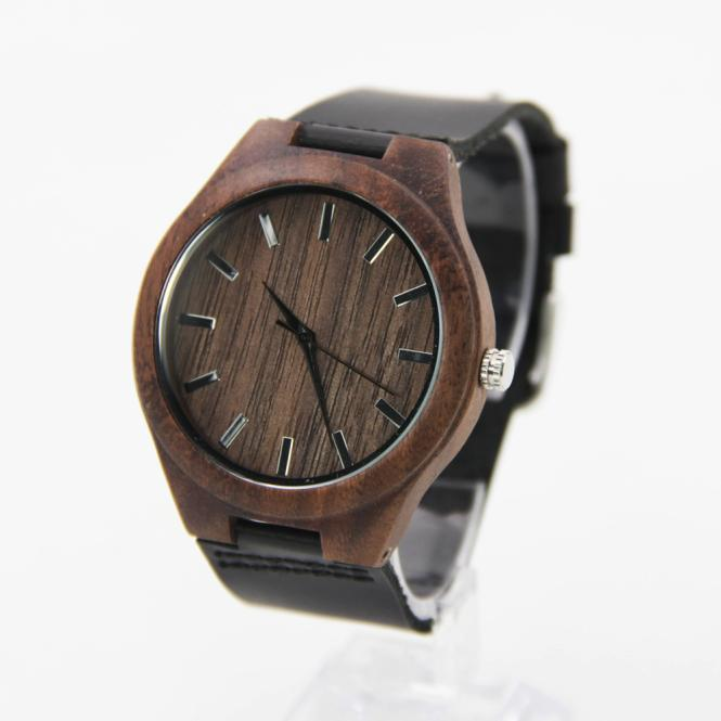 Men's Bamboo Wristwatch with Leather Band - backpackboutique.store
