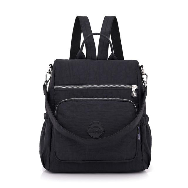 Fashion Women Waterproof Nylon Backpack Korean Style Designers Shoulder School Bag Leisure Rucksack For Girls backpackboutique.store Black