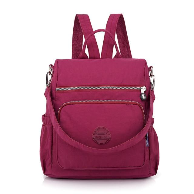Fashion Women Waterproof Nylon Backpack Korean Style Designers Shoulder School Bag Leisure Rucksack For Girls backpackboutique.store grape purple