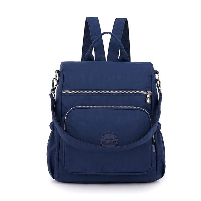 Fashion Women Waterproof Nylon Backpack Korean Style Designers Shoulder School Bag Leisure Rucksack For Girls backpackboutique.store Deep Blue