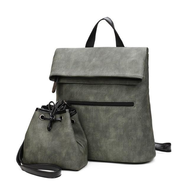 2 PCS/SET Luxury Women's Leather Backpack (112) - backpackboutique.store