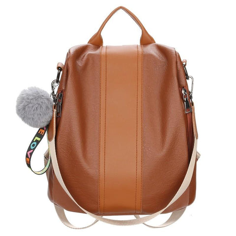 Women Leather Backpack Luxury Brown Ball Sac Anti Thief Bag Large Package - backpackboutique.store